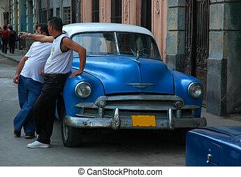 Cuban Street - Old Car in Havana, Cuba