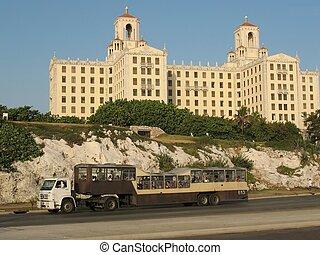 Cuban transport mean - Camelbus in Havana street - Cuban ...