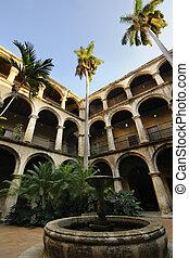cubano, la habana, viejo, tribunal, fuente, yarda