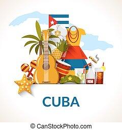 cubano, manifesto, simboli nazionali, stampa, composizione