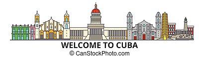 cubano, señales, silueta, cuba, vector, banner., delgado, urbano, viaje, línea, plano, cityscape, iconos, perfil de ciudad, contorno, illustrations.