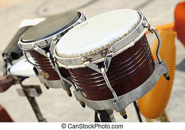 cubansk, -, instrument perkussion, bongo