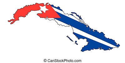 Cuba's map with cuba's flag on a white background