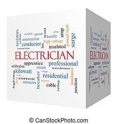 cube, électricien, concept, mot, nuage, 3d
