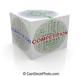 cube, étiquettes, wordcloud, concurrence, 3d, mot