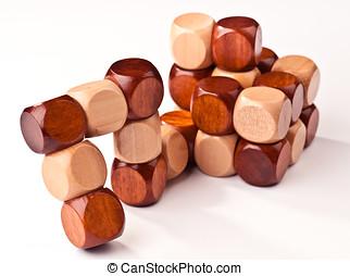 cube, être, puzzle, bois, 3d, formulaire, monté, avant