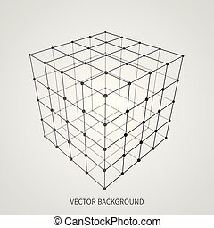 Cube 3d mesh wireframe. Web and data connection vector concept