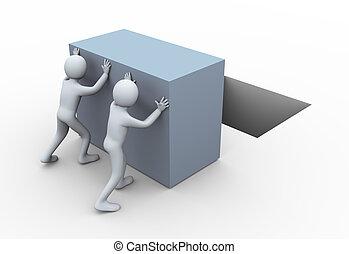 cube, 3d, pousser, gens