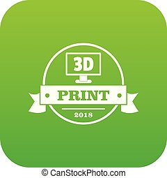 Cube 3d printing icon green vector