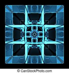 Cube 3D rendered blue transparent