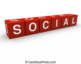 cube, 3d, rouges, social