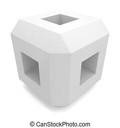 cube 3d white