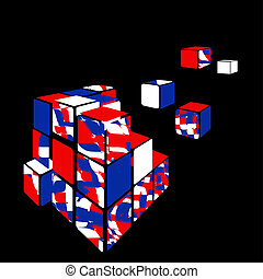 Cube 3D with black background.