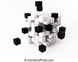 Cube - a 3d maded cube on a white background