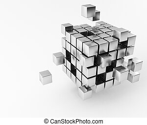 a group of 3d maded Cubes