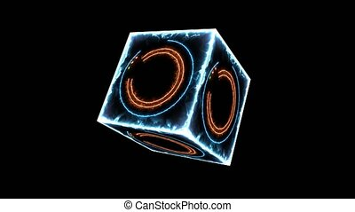 Cube absract orange aqua circle line glow light and triangel and hexagon star and tiny power three color racing all rotation