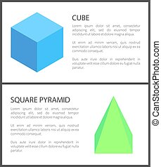 Cube and Square Pyramid Figures Isolated on White