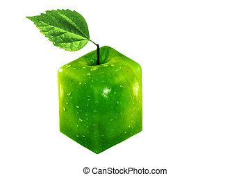 Cube apple isolated on white