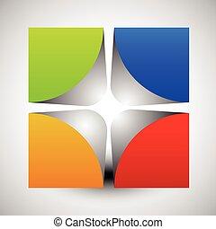 cube, arrondi, coloré, divisé, résumé, corners., vecteur, intérieur, graphics., 3d