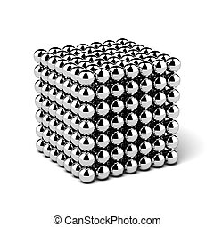 cube assembled from little balls isolated on a white...