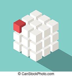 Cube assembled of blocks