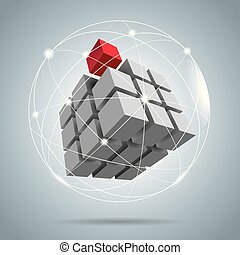 Cube assembled of blocks, puzzle blocks, one of which is red.