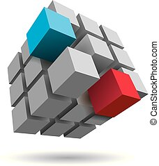 Cube assembled of blocks, puzzle blocks, two of which is blue and red.