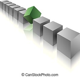 Cube assembled of blocks, puzzle blocks.
