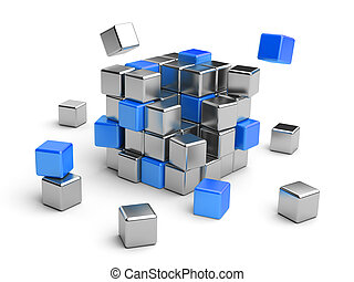 Cube assembling from blocks. 3D Illustration isolated on...
