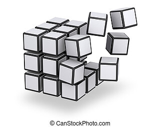 Cube being assembled or disassembled - Floating parts of...