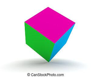 cube blanc, drapeau tricolore, isolé, 3d