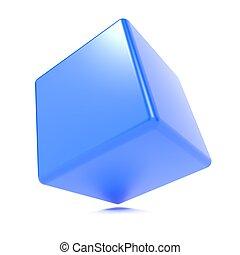 cube blanc, isolé, 3d