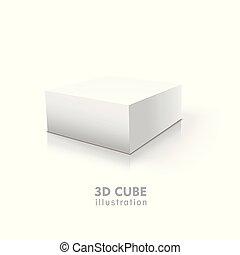 cube blanc, isolé, fond, 3d
