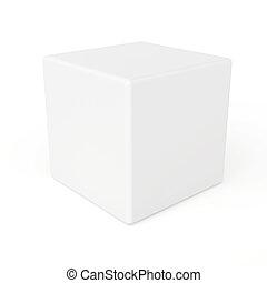 cube blanc, isolé, fond