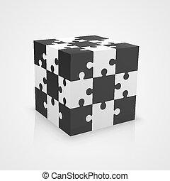 cube blanc, noir, puzzle