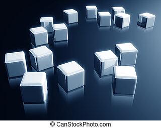 Cube box with reflection decorative design element