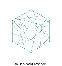 Cube boxe isometric icon illustration blue green color, dot...
