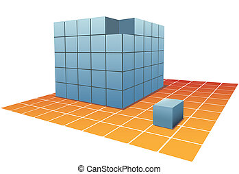 Cube Boxes Puzzle one Box from stacks on grid floor