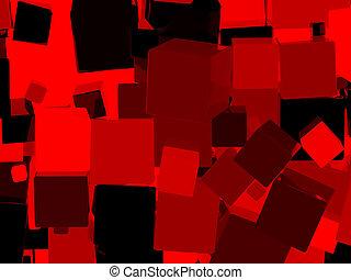 cube, brillant, arrière-plan rouge