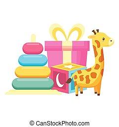 cube, cadeau, pyramide, douche, girafe, jouets, bébé