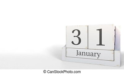 Cube calendar shows January 31 date. 3D animation - Wooden...