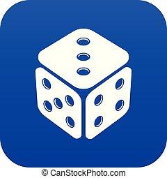 Cube casino icon blue vector