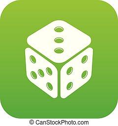 Cube casino icon green vector