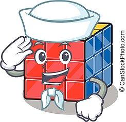 cube, chapeau, rubic, marin, dessin animé, porter, concept