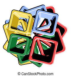 cube, coloré, surface