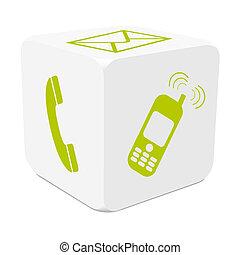 cube, coloré, téléphone mobile, -, tracer, e-mail, téléphone, blanc vert, 3d, icône