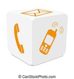 cube, coloré, téléphone mobile, -, tracer, e-mail, téléphone, orange, blanc, 3d, icône