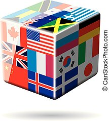 Cube concept with national flags