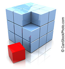 cube construction - 3d illustration of cube built from...