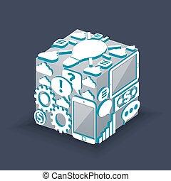 cube, de, nuage, calculer, schéma, concept